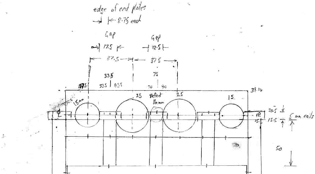 Rough Sketch #4 - End View of the cylinder block with slide rails